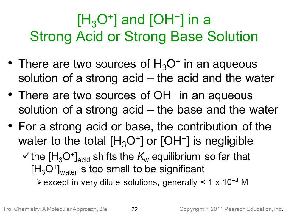 [H3O+] and [OH−] in a Strong Acid or Strong Base Solution
